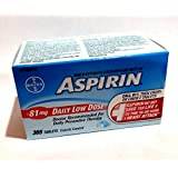 Bayer Aspirin Low Dose 81mg Enteric Coated Tablets 365 Count Low Strength