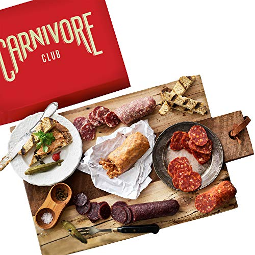 Carnivore Club Gift Box (Gourmet Food Gift) 5 Italian Meats Sampler From Nduja Artisans - Comes in a Premium Gift Box - Food Basket - Great with Crackers Cheese Wine - Ultimate Gift for Meat Lovers (Best Meat Gift Packages)