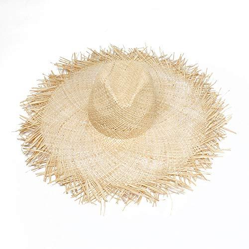 LYDIAMOON Sun Hat Frayed Brim Uv Protect Raffia Straw for Beach