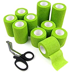Alfie Pet by Petoga Couture - Magee Self Adherent Cohesive 10-Piece Wrap Bandages with Scissor Set - Color: Green