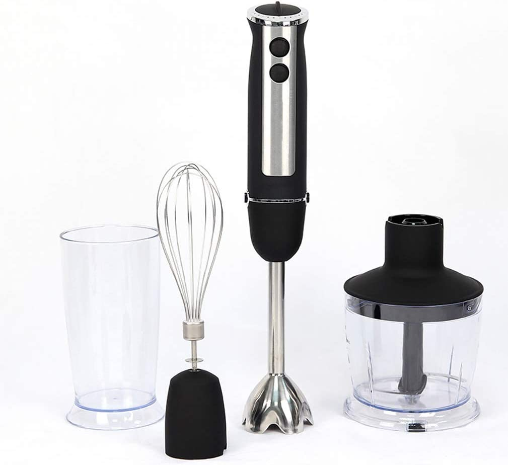 LEILEI 4-in-1 Stabmixerset,Kitchen Hand Mixer Stainless Steel Hand Mixer,Blender 500W Blender Blender Chopper Food Processor,Hand Blender,600ml containers,Mugs,