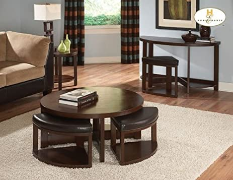 Homelegance Brussel II Round Cocktail Table With 4 Ottomans In Cherry