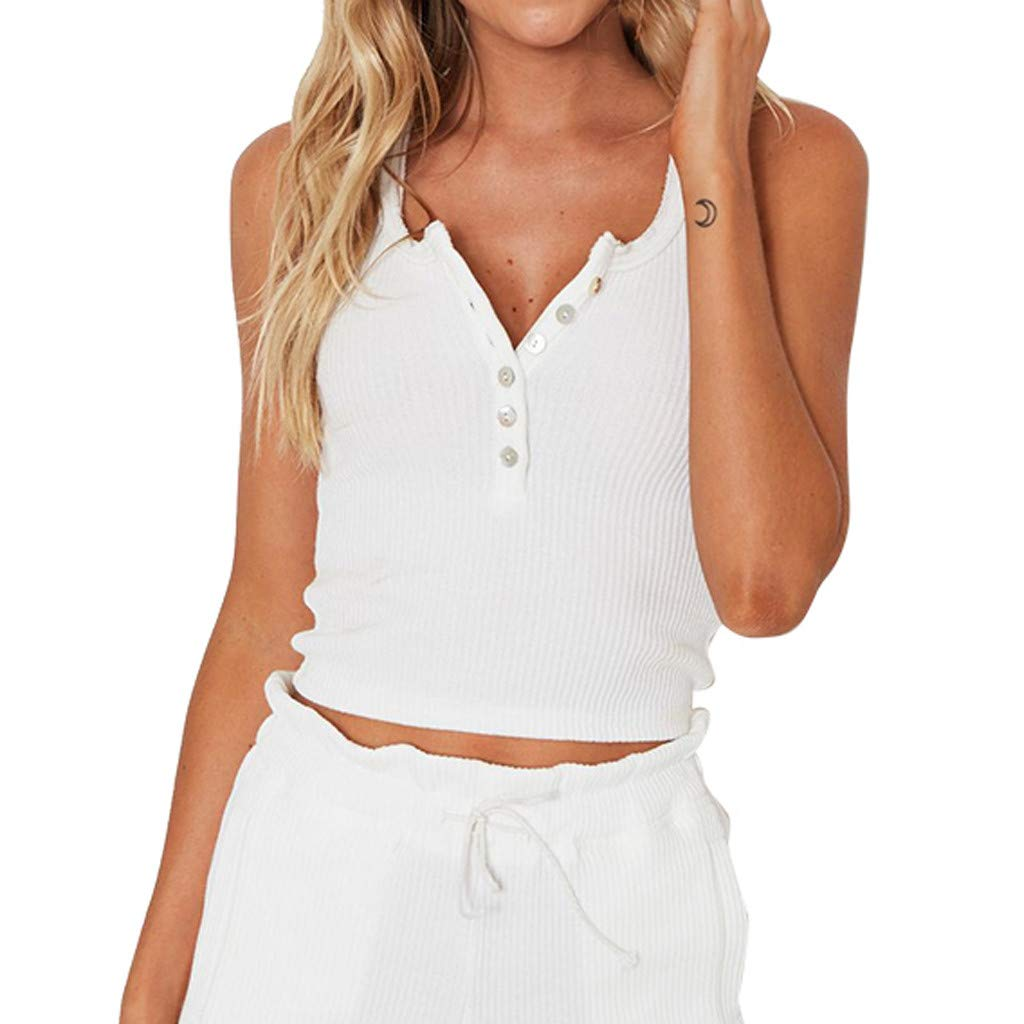 Women V Neck Sleeveless Camisole, LANTOVI Ladies Casual Cold Shoulder Top Strappy Button Solid Blouse T Shirt (Medium, White)