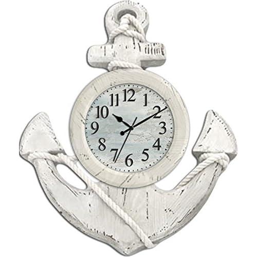 Ashton Sutton CX1435 Quartz Analog Anchor Wall Clock, 13-Inch
