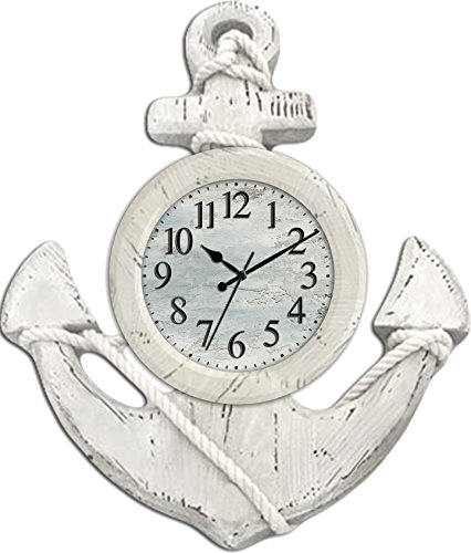 Ashton Sutton CX1435 Quartz Analog Anchor Wall Clock, (Anchor Clock)