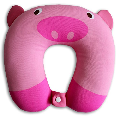 Nido Nest Kids Travel Neck Pillow Rest for Children - Airplanes, Cars, Road Trips, Sleeping, Naps, Gifts - Toddler, Preschool, Elementary Child - Pig