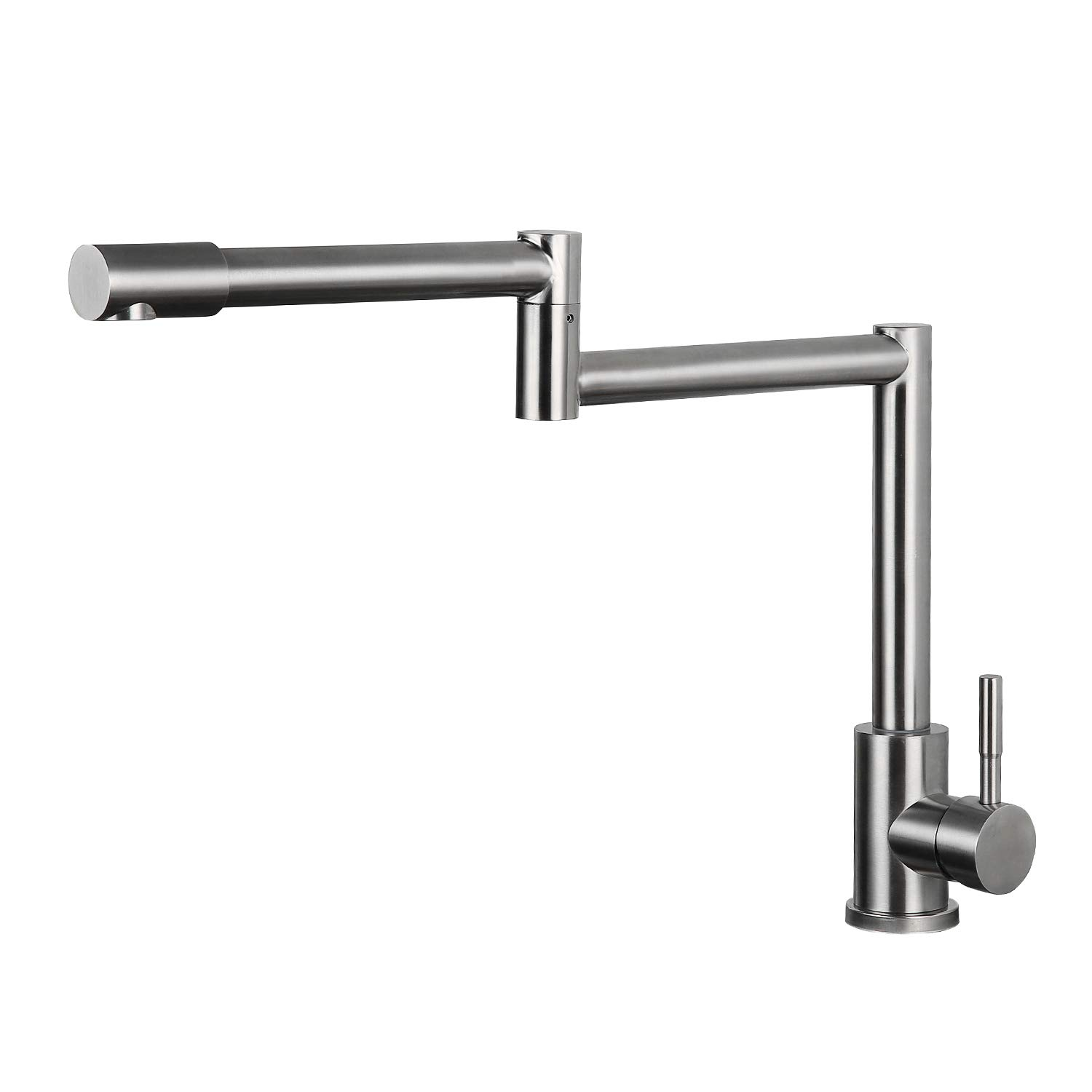 Modern Single Handle Stainless Steel Kitchen Sink Faucets, Brushed Nickel Deck Mount 2 Joints Pot Filler Faucet