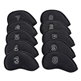10Pcs/Pack New Meshy Golf Iron Covers Set Golf Club Head Cover Fit Most Irons and Wedges(Black)