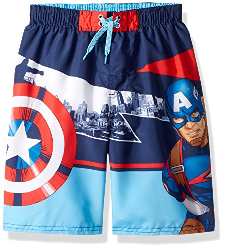 Marvel Boys' Big Captain America Swim Short, red/White/Blue, 8 ()