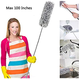 Flexible Microfiber Feather Duster with Extension Pole(Stainless Steel), Extra Long 100 inches,with Bendable Head, Detachable, for Cleaning Car High Ceiling Fan Blinds Keyboard