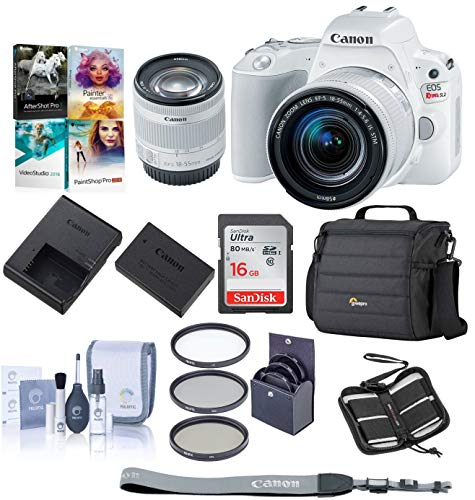 - Canon EOS Rebel SL2 DSLR with EF-S 18-55mm f/4-5.6 IS STM Lens - White Bundle with 16 GB SDHC Card, Camera Case, 58mm Filter Kit, Cleaning Kit, Memory Wallet, Software Package