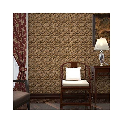 ROMTK Wallpaper Bamboo Weave Pattern Wallpaper 3D Effect Waterproof PVC Wall Decoration Suitable for Bedroom/Living Room/TV Background Wall S-3717 (Color : Brown, Size : 393in20.8in)