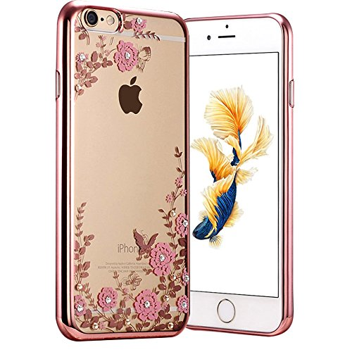Diamond Garden (6 Plus Case, Fyee [Secret Garden Series] Slim Dual Flexible TPU Rubber Back Cover with Clear Fower Bling Glitter Stone Diamond Case for iPhone 6 Plus/ 6s Plus 5.5 inch - Rose Gold Edge)