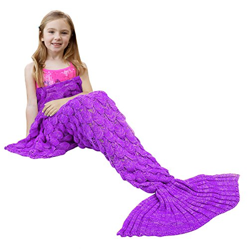 Ylovetoys Purple Soft Knitted Mermaid Tail Crochet Blanket f