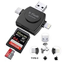 SD Card Reader, DEFONG Android Micro USB and Lighting Connector for iPhone 6 /6s/6s Plus7/7 Plus/5/5s ipad & Android Phone Tablet-No App Required and Compatible with ios 9.0 and10.3