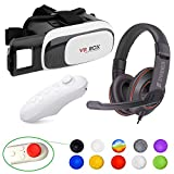 Virtual Reality, Gaming Bundle Set Includes - VR Headset, With Controller for iphone and android + Gaming Chat Headset + Thump Grip Cap Covers