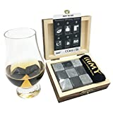 Whiskey Stones Gift Set for Men, Natural Soapstones and Granite Polish Whisky Rocks in Gift Wooden Box - Christmas, Birthday Gift for Dad, Husband, Men - iiiMY