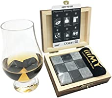 iiiMY Whisky Stones Gift Set of 9 Natural Soapstone and Granite Chilling Rocks with Stylish Wooden Box and Free Velvet Pouch