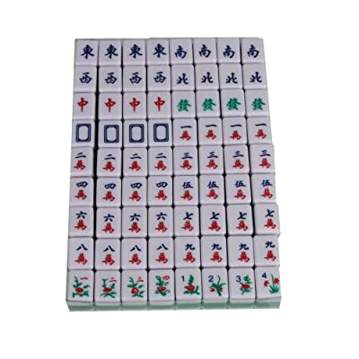 Mini 144 Mahjong Tile Set Travel Board Game Chinese Traditional Mahjong Games, Portable Size and Light-weight: Toys & Games
