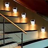 Stair Lights Solar Powered, Miya Solar Step Stairs Light Wall Mounted Garden Path Lamp Stainless Steel Outdoor Wall Lamps Gutter Fence Lighting for Fence Garden Yard Pathway Gutter Patio(Warm white)