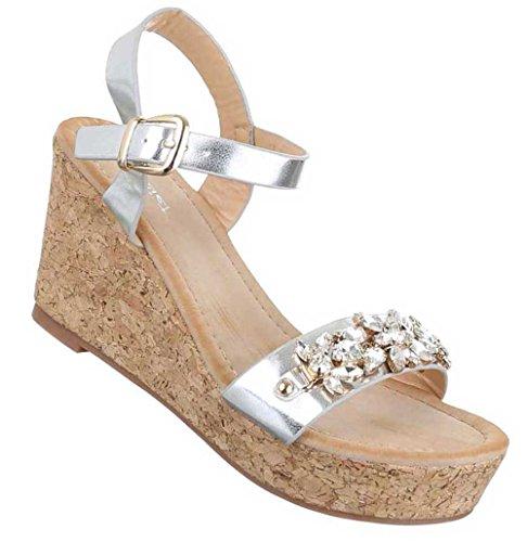 Damen Sandaletten Schuhe Keil Wedges Pumps Schwarz Silber