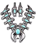Silver Aztec Style Southwest Turquoise Squash Blossom Necklace Set