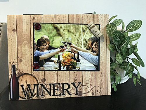 At The Winery - Magnetic Picture Frame Handmade Gift Present Home Decor by Frame A Memory Size 9 x 11 Holds 5 x 7 Photo - Vineyard Trip Tasting Friend Weekend Getaway Family Reunion