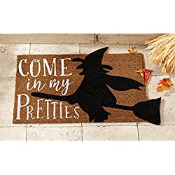 Mud Pie Woven Coir Come in My Pretties Halloween Doormat