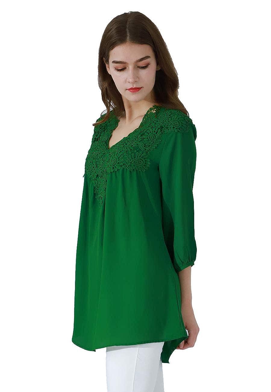 8681a142031 OMZIN Women Chiffon Lace Patchwork V Neck 3/4 Sleeve Top Blouse Shirts