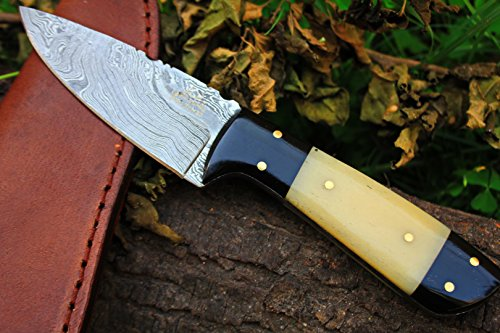 DKC-520 TETON Damascus Tanto Bowie Hunting Handmade Knife Fixed Blade 5.7 oz 7.75  Long