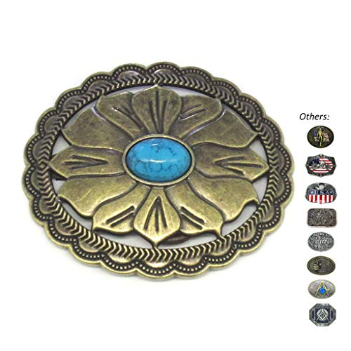 Round Turquoise Floral Etched Belt Buckle Cowboy Men Women Native American