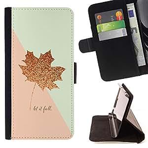 """For Motorola Moto E ( 2nd Generation ),S-type Canadá caída del otoño de la hoja de oro rosa"""" - Dibujo PU billetera de cuero Funda Case Caso de la piel de la bolsa protectora"""