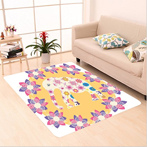 Nalahome Custom carpet Cartoon Thai Baby Elephant Kids Decor Colorful Natural Wildlife Animal Prints area rugs for Living Dining Room Bedroom Hallway Office Carpet (5' X 8') by Nalahome