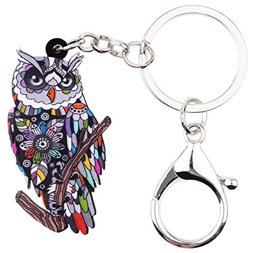 Bonsny Patterned Acrylic Chain Owl Key Chains For Women Car Purse Handbag Bird Charms Pendant Gifts (Gray)