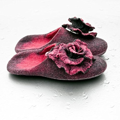 BureBure Felted Wool Women Slides Slippers with Rose Brooches Handmade in Europe