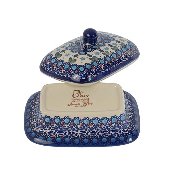 BCV Classic Boleslawiec, Polish Pottery Hand Painted Stoneware, Ceramic Butter Dish with lid 066 (U-006)