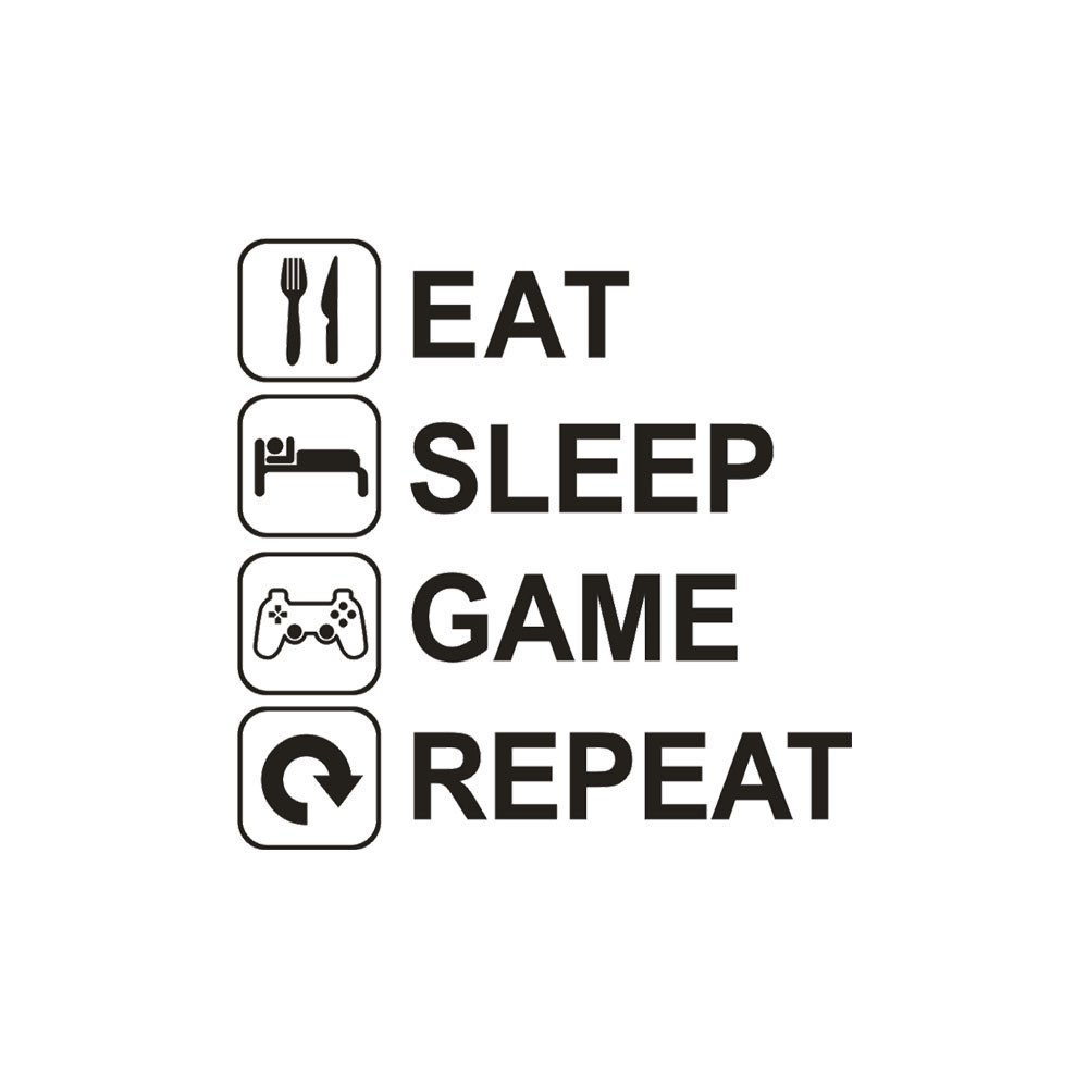 Euone Wall Sticker, Eat Sleep Game Repeat Art Vinyl Mural Home Wall Stickers (C) by Euone (Image #2)