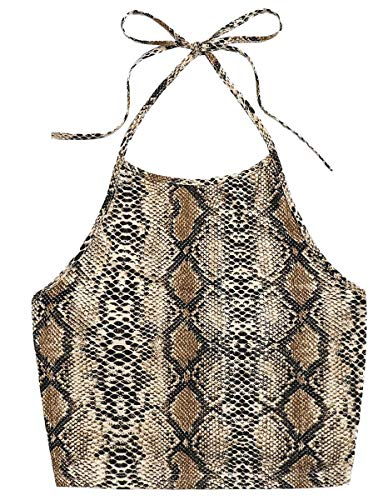 Romwe Women's Casual Snakeskin Print Sleeveless Vest Halter Cami Crop Top Multicolor S