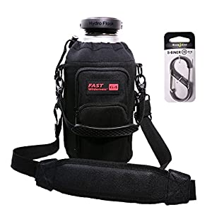 Fast Wilderness 64 oz Premium Carrier (No Bottle) fits Hydro Flask, RTIC and YETI. Dual Stitched Loop System, Extra D-ring, Shoulder Strap, Handle, Large Pockets bundled with S-Biner #3