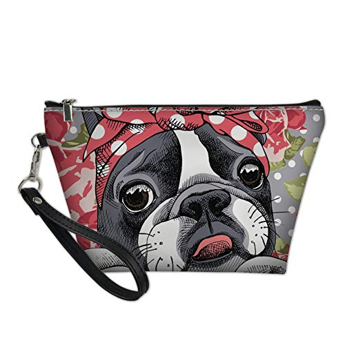 (Sannovo Women Makeup Storage Cosmetics Shower Bag Bow Boston Terrier Pu Leather Easy Clean Shopping Purse for Women)