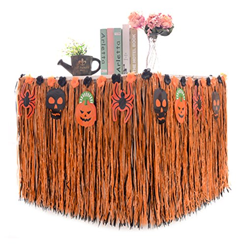 Halloween Table Skirt Hawaiian Luau Hibiscus, Artificial Grass Table Skirt-- plastic 9ft Long Party Decoration Orange BROSHAN (Halloween A)
