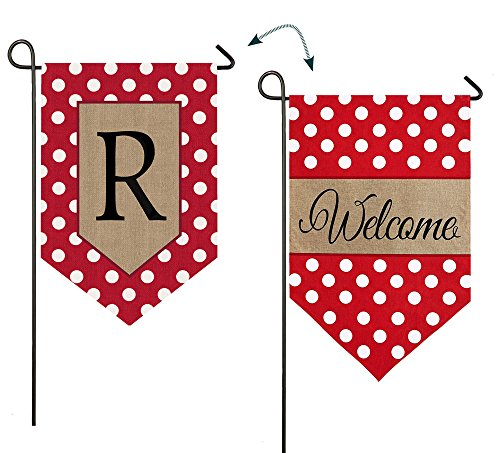 "Evergreen Polka Dot Welcome Monogram ""R"" Double-Sided Burlap"