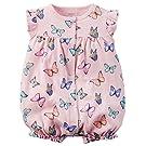 Carters Baby Girls 1-piece Appliqué Snap-Up Cotton Romper (9 Months, Pink Butterflies)