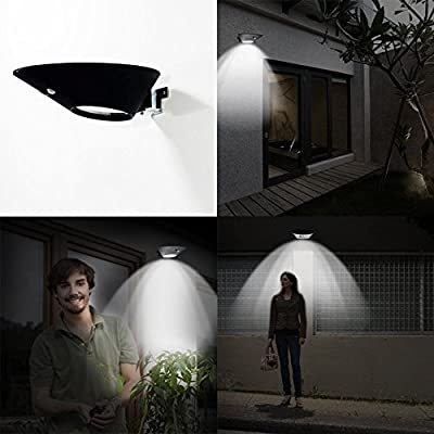 Bright Solar Powered Outdoor LED Lights with Motion Sensor Detector by Solario. Easy to Install Wireless Exterior Security Lighting for Patio, Deck, Driveway Garden, Stairs & Outside Walls.
