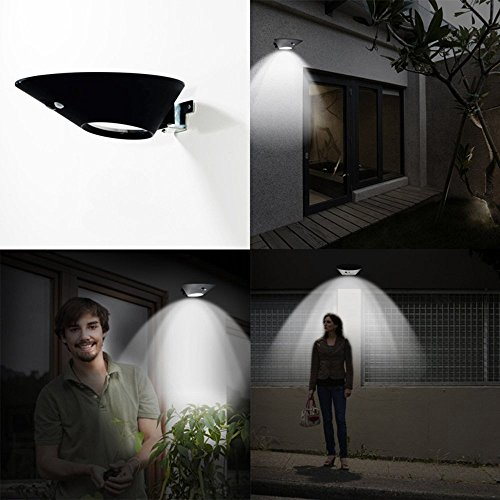 Bright Solar Powered Outdoor LED Lights with Motion Sensor Detector by Solario. Easy to Install Wireless Exterior Security Lighting for Patio, Deck, Driveway Garden, Stairs & Outside Walls. (1) (Around Pool Patio Pavers)