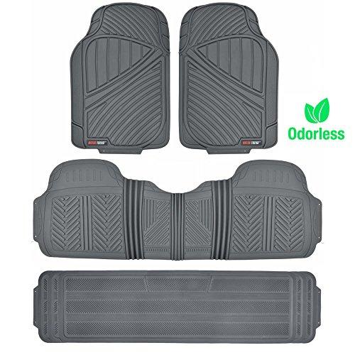 Motor Trend MT-773-801-BG FlexTough, Durable and Flexible Rubber Car SUV Van Floor Mats 3 Rows, Odorless Eco Clean Liners, Extra-High Ridgeline Design (Gray)