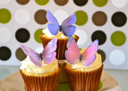 Edible Butterflies © -Large Purple Set of 12 - Cake and Cupcake Toppers, Decoration by Sugar Robot Inc. (Image #2)