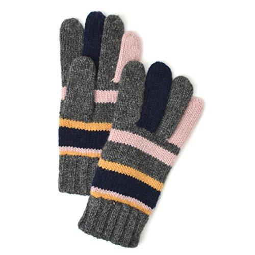 (トライバル)TRIBAL ウールミックス素材で手首まであったか 配色がかわいいマルチボーダーニット手袋