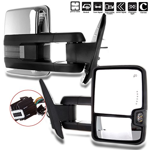 (ECCPP Chrome Side Mirrors for 07-14 Sierra Towing Power Heated Signal Pair)