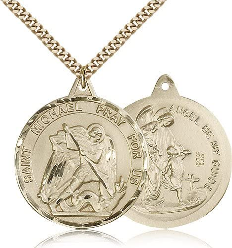 14kt Gold Filled St Michael Heart Pendant 18 inch Gold Filled Curb Chain Patron Saint Police Officers//EMTs 5//8 x 1//2